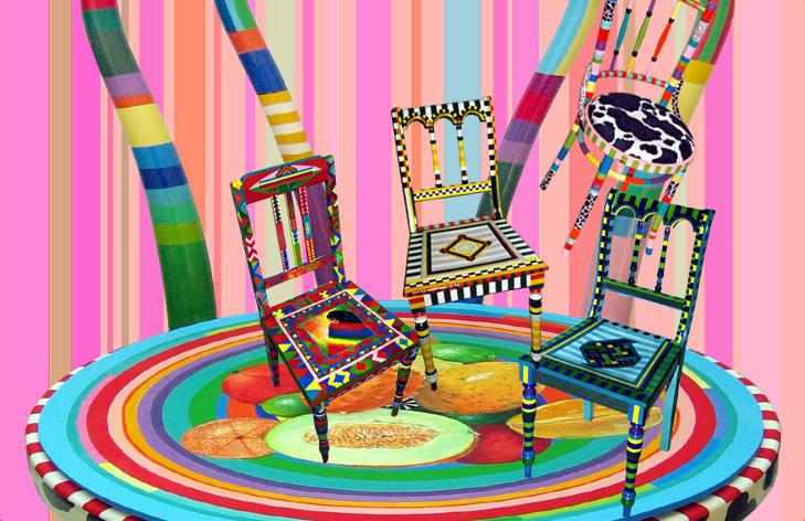 Bemalte Stühle de galloni kunst am stuhl